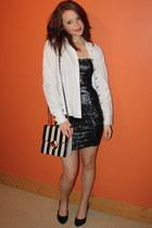 black sequin body con republiccouk dress - black stripes River Island bag - blac
