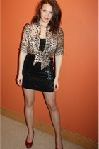 red snakeskin Kumfs shoes - black Republic dress - brown leopard print Zara shir