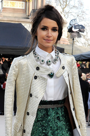 metallic white Burberry coat
