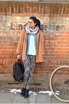 camel cape coat - light blue vintage sweater - silver hm scarf