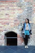 tan boots - teal vintage shorts - beige leopard blouse