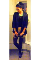 light pink mirrored shorts - heather gray granny shoes - black silk blazer