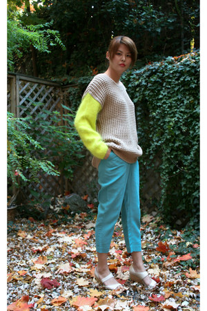 tan Shae sweater - turquoise blue 31 Phillip Lim pants - off white camper heels