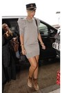Light-brown-boots-beige-puffed-shoulder-dress