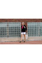 black banana republic blazer - off white Jcrew shorts - hot pink Jcrew blouse