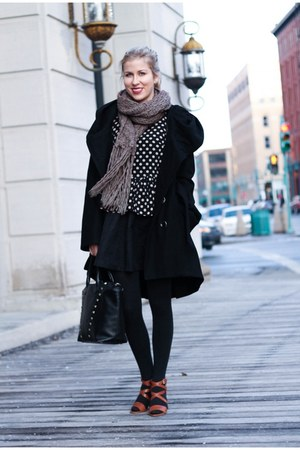 navy Lizzibeth top - black Miss Sixty coat - black H&M bag