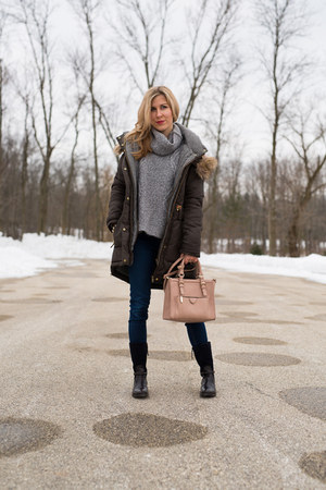 dark green Zara coat - navy Tommy Hilfiger boots - silver Zara sweater