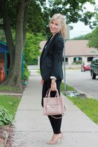 black banana republic blazer - peach Zara bag - black Jcrew Factory pants