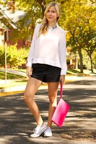 white Converse sneakers - hot pink The Limited bag - black Forever 21 shorts