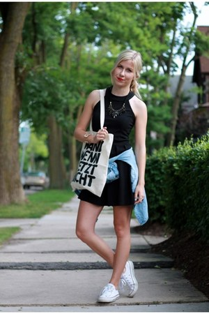 blue Gap shirt - black kate spade dress - ivory Converse sneakers