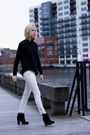 Black-forever-21-boots-white-jeans-black-mango-sweater