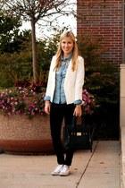 white Zara blazer - black rag & bone jeans - blue Gap shirt