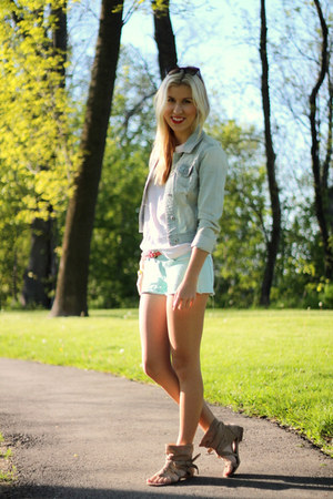 light blue kohls jacket - white Gap shirt - sky blue kohls shorts