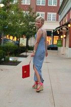 blue Gap dress - hot pink The Limited bag - hot pink kohls wedges
