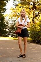 black Birkenstock sandals - off white Gap shirt - brown madewell bag