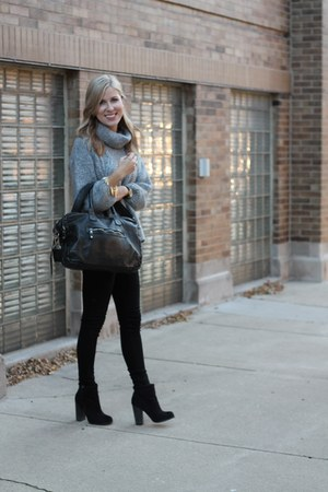 heather gray Zara sweater - black Forever 21 boots - black rag & bone pants