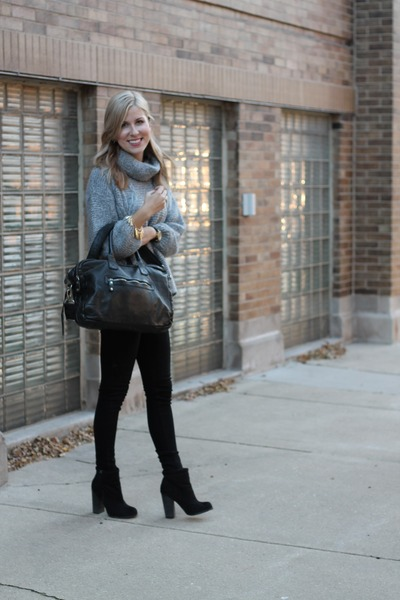heather gray Zara sweater - black Forever 21 boots - black rag & bone pants