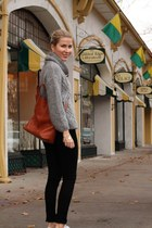 heather gray Zara sweater - black rag&bone jeans - brown madewell bag