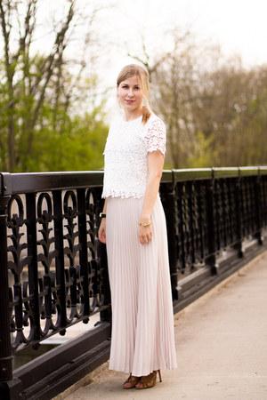light pink maxi skirt banana republic skirt - white crop top 1 state top