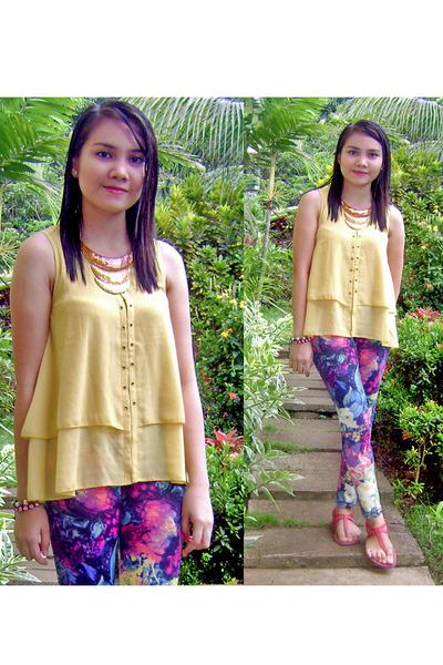 muustard color romwe top - flower printed romwe leggings