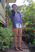 top - vintage thrifted vintage shoes - DIY shorts - firmoo sunglasses