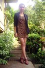 Burnt-orange-leopard-printed-oasap-dress-black-black-blazer-pink-blush-blazer