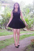 black lace sheer OASAP dress - romwe necklace