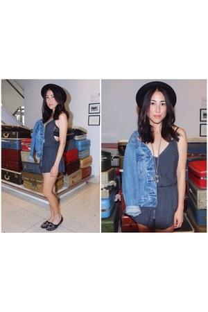 gray Kimchi Blue romper - black Topshop hat - blue Levis jacket - black flats