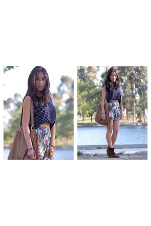 brown leather stella & jamie bag - hot pink floral Urban Outfitters shorts