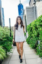 black oxfords Chelsea Crew shoes - white flowy Aritzia shirt