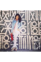 Fire Los Angeles jacket - Zara jeans - Bella Dahl blouse - Fluxus t-shirt