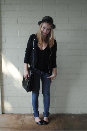 black Non De Plume jacket - black American Apparel t-shirt - blue Miss Sixty jea