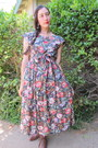 Brown-thrifted-vintage-boots-pink-poppy-flowers-thrifted-vintage-dress