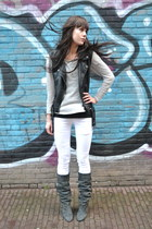white Mango jeans - Isabel Marant boots - leather H&M vest