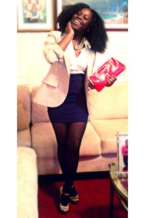 Forever 21 heels - suzies blazer - Forever 21 shirt - H&M Trend bag
