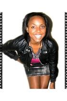 pink heartbreakers t-shirt - black Len Druskin jacket - gray Picky Girl skirt -