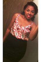TJ Maxx blouse - heartbreakers skirt