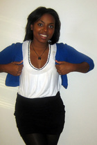 blue H&M cardigan - Forever 21 tights - white Forever21 blouse