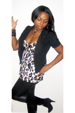 black thrifted blazer - beige Forever 21 blouse - black Forever 21 tights - blac
