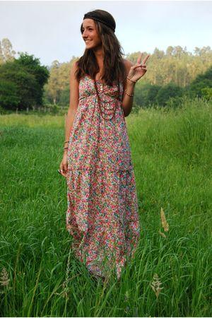 brown BLANCO necklace - pink Zara dress - brown Primark accessories - brown