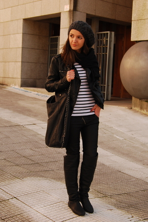 black Lamarca boots - black BLANCO jacket - white Zara t-shirt - black Pull & Be