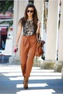 Brown-zara-bag-burnt-orange-blanco-pants-dark-brown-sfera-sandals-dark-kha