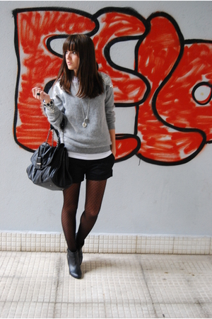 silver H&amp;M sweater - black H&amp;M boots - black Zara purse - black pull&amp;bear shorts