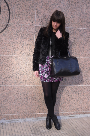 black H&M jacket - purple BLANCO skirt - black Bimba & Lola purse - black H&M bo