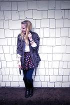 Forever 21 jacket - Forever 21 skirt - Forever 21 leggings - thrifted JCrew swea