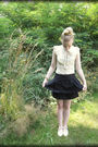 Yellow-unknown-thirfted-blouse-black-forever-21-skirt-unknown-thirfted-shoes