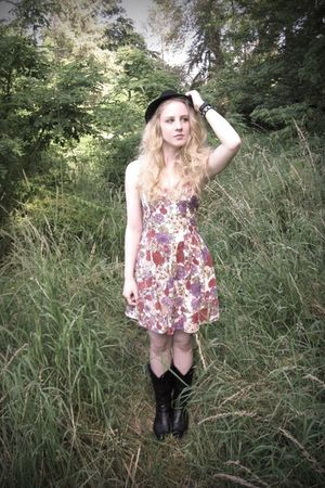 black cowboy Forever 21 boots - floral Wet Seal dress