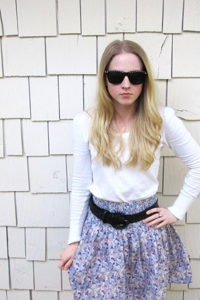 unknown brand sunglasses - thrifted target sweater - H&M skirt - Forever 21 legg