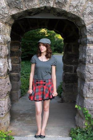 polka dot Forever 21 shirt - hat - plaid Forever 21 skirt