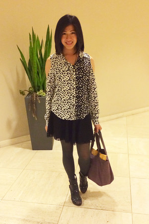 Minx blouse - solid Givenchy tights - lace skater f21 skirt